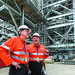 Andrew Gould and Chris Finlayson at the LNG train on Curtis Island