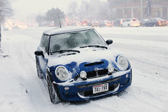 MINI (local paparazzi (isthmusportrait.com)) Tags: street blue autumn winter snow cold window car wisconsin canon eos 50mm prime iso800 lights pod automobile downtown alone dof traffic little bokeh snowy f14 tag small traction tracks plate mini headlights front fresh grill tires rush tiny transportation fancy vehicle minicooper chilly snowing rushhour usm madisonwi windshield speedy snowfall tread blizzard slippery ef sporty isthmus earlywinter catchycolorsblue blairstreet 2013 eastwash 50mmf14usm sportedition 210hp danecountywisconsin eastwashingtonave photoshopelements7 canon5dmarkii pse7 localpaparazzi redskyrocketman lopaps