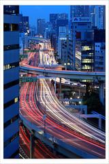 Hamasakibashi 4635 (kbaranowski) Tags: city longexposure urban japan tokyo cityscape traffic nippon lighttrails shiba urbanjungle nihon afterdark tokio citynight traffictrails lightstream megacity urbanasia canon5dii hamasakibashijct krzysztofbaranowski gettyimagesjapan14q1