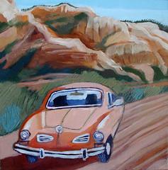 orange volkswagen (EllenJo) Tags: arizona art painting 2014 redrockcountry acryliconcanvas sedonaart ellenjo arizonaart ellenjoroberts ellenjdroberts january2014 forjunipine