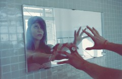 spiritica - 35mm lomo film (Stefano☆Majno) Tags: film beauty analog 35mm mirror mju olympus reflected abandon brunette alessia stefano pellicola majno spiritica thephotographyblog