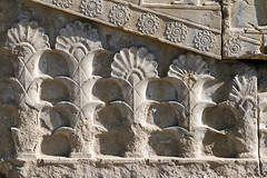 Flower motif relief in Persepolis, Iran (inchiki tour) Tags: travel archaeology architecture photo ancient iran persia palace relief silkroad shiraz  rosette necropolis worldheritage  achaemenid darius        palmette           1