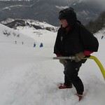 Andre Labine (Whistler Weasel Wlrker) hosing down the track in Sochi
