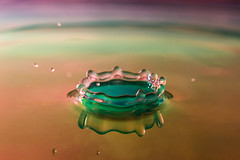 Crown (DFiveRed) Tags: pink blue shadow red orange color macro green water colors yellow closeup canon drops waves flash experiment wave drop droplet crown 60mm splash waterdrops strobe strobist