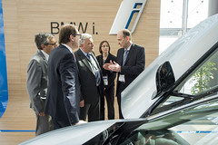 Alexander Dobrindt, Frédéric Cuvillier, José Viegas and Helmut-Joseph Schramm at the BMW i8 stand during the VIP Exhibition Walk-around
