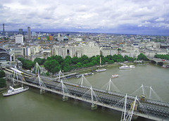 View from London Eye (littlestschnauzer) Tags: city uk trip summer england london eye college station thames train canon river cityscape tour view cross capital sightseeing july ixus poi charing shelley 2014