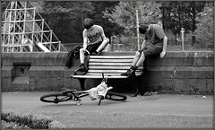 Two boys and a bike (* RICHARD M (Over 5.5 million views)) Tags: street summer boys bike bicycle june liverpool bench mono cycling blackwhite sitting cyclist candid parks cycle stanleypark stonewall summertime resting parkbench scousers walton takingabreak bicyclists anfield merseyside publicparks liverpudlians restbreak liverpoollads boyssittingonwall liverpoolsstanleypark