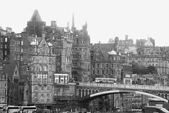 Old Town, hazy day (byronv2) Tags: oldtown edinburgh edimbourg scotland architecture building cityscape skyline blackandwhite blackwhite bw monochrome mist haar northbridge bridge
