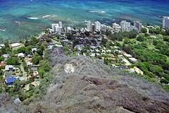 At the Base of Diamond Head (AntyDiluvian) Tags: hawaii 2001 30thanniversary oahu honolulu diamondhead cone volcaniccone trail summittrail diamondheadstatemonument suburb base