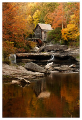 Glade Creek Grist Mill (Geoff Sills) Tags: glade creek grist mill babcock state park west virginia autumn fall foilage leaves october reflection waterfall rocks nikon d700 70200 28 geoffrey william sills geoff