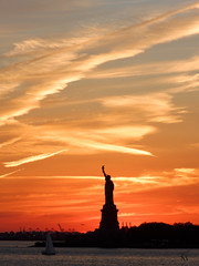 Statue of Liberty (Tonio06fr) Tags: nyc daylight colored sunset statueofliberty water day orange sun silhouette river afternoon city america usa newyork symbol downtown