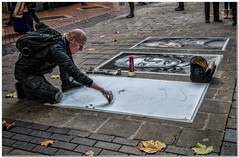 Picard (Hugh Stanton) Tags: artist charcoal spray pavement portrait autumn backpack canvas appickoftheweek