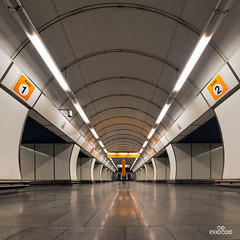 Lonely in Prague subway (brenac photography) Tags: brenac cz czech d810 france nikond810 tcheque brenacphotography nikon october2016 prague praha wow czechrepublic hloubetin tube metro mestro train station empty europe arcade architecture soviet samyang hdr longexposure oloneo