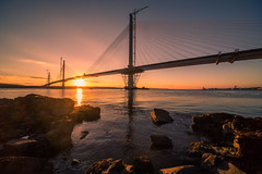Forth road bridge finally in one peice (s1msn) Tags: forth replacement crossing road bridge river north queensferry south maid hawes smugglers railbridge canon 5dmk3 1224 sunset winter