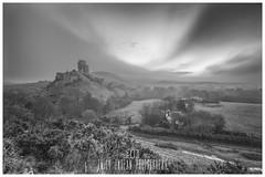 Silent, lonely and sublime. (Emily_Endean_Photography) Tags: corfe castle ruins mono monochrome blackwhite blackandwhite landscape history dorset nikon sea mist jurassiccoast purbecks
