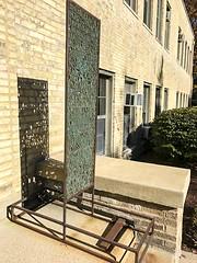 IMG_3174 (notredamepublicart) Tags: houstondavidlobdell indiana plinth publicart rileyhall lettes metal outdoors sculpture text