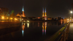 night lights of wrocaw (Sergey S Ponomarev) Tags: landscape paysage paesaggio urban city citta notte church cathedral water river towers lights poland wroclaw trip journey europe travel sergeyponomarev canon 70d eos zenit zenitar october 2016 ottobre                hdr    polska le longexposure