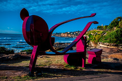Sculpture by the Sea, Bondi (Theresa Hall (teniche)) Tags: sculpturebythesea sxs sxsbondi16 sxsmoments sxsmomentsbondi2016 2016 australia bondibeach boondi canberra nikkor2485 nikond750 sydney tamarama tamaramabeach tamron tamron70200 teniche tenichetheresahallnikon theresa theresahall art artist artwork beach clouds color colour landscape ocean outside sculpture sky sunrise