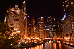 Downtown Chicago, Wyndham Hotel, Trum Tower, Chicago River (Samd7000) Tags: chicago chicagoriver architecture nikon nikond7100 d7100 wyndham resorts illinois reflections ngc skyline irvkupcinetbridge dusablebridge beautiful night nightscape nightlife