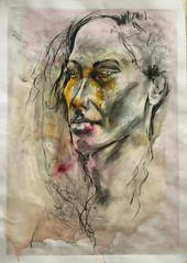 Portrait2 Roberta (Alemwa) Tags: alemwa berlin sketching sketch zeichnung zeichnen lifedrawing zeichnennachmodell portrait woman 20minutes kohle gouache kreuzberg