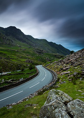 Green Valley (Jake Pike) Tags: snowdonia wales road s shape curves cloud mood snowden moutains hills long exposure jake pike photography landscape f