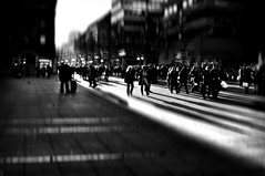 """""""...Traveling across the fallen earth And the foreign lands,  We survived To believe that this is not the end,  This is not the time..."""" - by Riverside (eggii) Tags: mono bw street people dark blackandwhite light stuttgart city mood germany"""