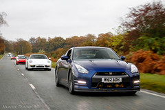 Herbivore (MJParker1804) Tags: nissan gtr r35 autumn fall leaves driving rolling tracking 2012 blue cars twin turbo