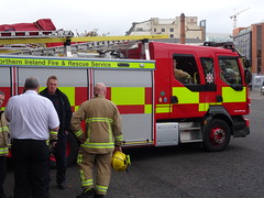 Bankmore St Fire Station Open Day, 29th Oct 2016 (nathanlawrence785) Tags: nifrs nifb psni ruc police fire service northern ireland truck engine appliance battenburg red yellow white dog canine land rover defender rosenbauer airport bhd egac volvo fm fl foam