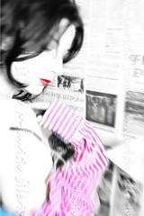 intimacy (Mauricio Silerio) Tags: fashion portrait beauty beautiful girl model modelling modelo red lips sensuality newspaper face romanian nikon sony