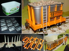 """Wagons from """"Flora"""" tubs - 16mm scale (wcrpaul) Tags: modelrailway modelrailroad floratub margarinetub recycle 16mm 16mmscale 16mmng 45mmgauge 16mmnarrowgauge narrowgauge modelwagon railwaywagon hopperwagon modeltrains modeltrain sonycybershot dsc717 paulbackhouse"""