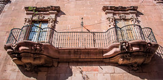 2016 - Mexico - San Luis Potosi - Casa Don Felix Maria Calleja (Ted's photos - Returns late December) Tags: 2016 cropped mexico nikon nikond750 nikonfx sanluispotosi tedmcgrath tedsphotos tedsphotosmexico vignetting thisisthebalconyofviceroydonfelixmaracalleja thisisthebalconyofviceroydonfelixmaracallejasanluispotosi sanluispotosiphotos railing railings balcony donfelixmaracalleja doafranciscavirreina windows doors shadow