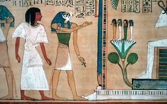 Hunefer's Book of the Dead, detail with Hunefer, Horus and his 4 sons