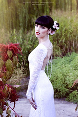 Beautiful bride, looking at the camera (spark of beauty) Tags: flowers wedding summer people woman white nature girl beautiful garden bride looking dress blueeyes celebration redlips thin gown blackhair tender caucasian