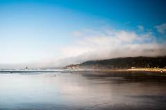 Coastal Clouds (wenzday01) Tags: travel reflection beach nature fog clouds oregon nikon waves or coastline oregoncoast nikkor cannonbeach d90 nikond90 18105mmf3556gedafsvrdx
