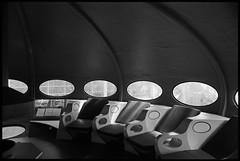 Modern Living (Elektrojänis) Tags: blackandwhite bw house kodak ufo seats scifi nikonf2 futuristic weegee futuro id11 id1111 mattisuuronen id11118min