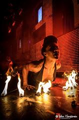 Brass Knuckles @ Voyeur in San Diego 10/26/2013 (jahnbenjamin) Tags: woman halloween girl female fire sandiego dancer nightclub sd event voyeur gaslamp poi nightlife brunette brassknuckles gaslampquarter bewaterphoto jahnbenjamin