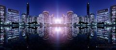 SYNCHRONICITY (Titanium007) Tags: nightphotography blue windows panorama reflection water skyline buildings lights skyscrapers fineart uae middleeast wallart kaleidoscope fantasy abudhabi arab citylights scifi symmetric unitedarabemirates wallposter citypanorama