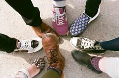 shoes (sayaka) Tags: friends color film fashion japan analog foot japanese 50mm shoes minolta legs leg snap