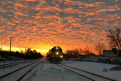 Sunrise (ElenaK@Chicago) Tags: winter snow chicago clouds train sunrise transportation metra mountprospect metrarail nikon50mmf14 nikond800 blinkagain bestofblinkwinners blinksuperstars