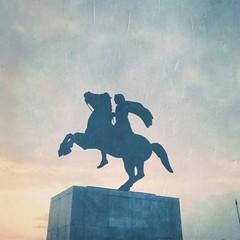 HipstaPrint (dimakk) Tags: old travel blue light shadow sea sky urban sculpture horse mist man tourism statue architecture greek seaside europe shadows waterfront dream retro greece macedonia grecia thessaloniki dreamy alexander griechenland grece urbanscape thesaloniki 2014 selanik salonika alexanderthegreat paralia makedonia solun neaparalia hipstamatic cadetbluegelflash adler9009lens blankofilm