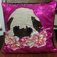 Pink PUG Pillow (AshleyEnzoBernard) Tags: pink dog floral sewing pug pillow fabric dogart pugart uploaded:by=flickrmobile flickriosapp:filter=nofilter