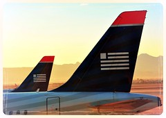 US Airways Tails (sfPhotocraft) Tags: las logo lasvegas flags airline planes tails klas usairways 2014 twintails twotails