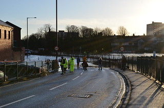 Flood barrier protecting Avon Crescent at the junction with Cumberland Road during high tide on 1st Feb 2014