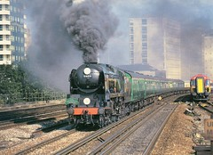 Preserved British Railways 34016 . approaching Vauxhall Station , London . (AndrewHA's) Tags: london train br pacific cathedrals railway loco steam southern locomotive express region vauxhall westcountry britishrailways 34016