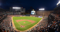 Camden Yards (StateMaryland) Tags: city game sports field night ball baseball mitch bat baltimore warehouse fans orioles stands lebovic