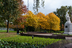 A Great Show! (Jocey K) Tags: autumn trees light newzealand christchurch plants colour green leaves yellow buildings bench golden seat nz cbd stature