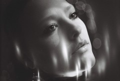 B\W Portrait (zen.snake) Tags: film analogue retro vintage portrait girl woman face eyes light lights bokeh inspiration ambient old style kodak polaroid strange stranger mad beauty dark darkness lips mood background texture grain soft focus beautiful shine shining magic