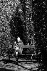 Incognito (CoolMcFlash) Tags: person man bw blackwhite blackandwhite sitting warten incognito vienna bald portrait mann sw schwarzweis sitzen scarf schal wien glatze fotografie candid photography outdoor street streetphotography contrast kontrast canon eos 60d tamron b008 18270