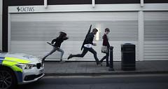 Police On My Back (D.I. Hammonds) Tags: police car run runner running runners chase aber aberystwyth street streets edit edited photoshop wales cymru urban welsh heddlu cactws shutter shutters canon eos 1200d adobe cs5