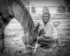 Kasey and Bill (clarkcg photography) Tags: horse portrait cowgirl woman blonde halter graze fence pipe trees arena blackandwhitethursday7dwf 7dwf